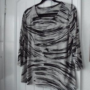 JM Collection Blouse Petite XL Tan, Black, White